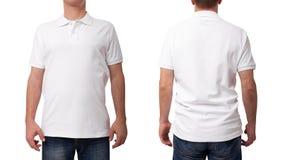 T恤杉设计和衣物概念 在前后被隔绝的空白的白色衬衣的年轻人 免版税库存照片