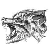T恤杉设计的传染媒介商标狼或穿破 狩猎样式狼背景 免版税库存照片