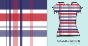 T恤杉设计,红色和蓝色格子花呢披肩格子呢无缝的样式传染媒介例证,织品纹理,仿造了衣物 库存例证