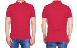 T恤杉设计-被隔绝的空白的浅红色的球衣的人 库存图片