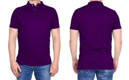 T恤杉设计-被隔绝的空白的紫色球衣的人 免版税库存照片