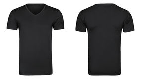 黑T恤杉,衣裳隔绝了白色背景 免版税库存照片
