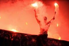 T流动额外同盟波兰人总理英格兰足球联赛维斯瓦克拉科夫- Ruch霍茹夫 免版税库存图片
