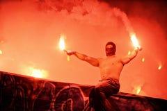 T流动额外同盟波兰人总理英格兰足球联赛维斯瓦克拉科夫- Ruch霍茹夫 免版税库存照片