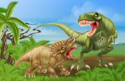 T雷克斯三角恐龙恐龙战斗场面 免版税库存照片