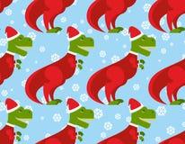 T雷克斯圣诞老人无缝的样式 圣诞节恐龙背景 库存图片