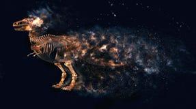 T雷克斯破坏恐龙的骨骼 库存照片