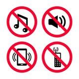 ` T Дон делает шум, никакие мобильные телефоны, никакую музыку, никакие сильные шумы, красные знаки запрета иллюстрация штока