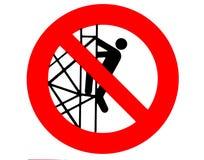 T запрещен для того чтобы пойти вниз или взобраться от лесов Знак запрета строительной площадки бесплатная иллюстрация