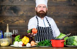t 人有胡子的烹调健康食品的行家帽子和围裙 r 厨师准备 库存图片