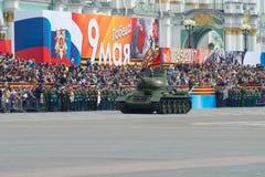 T-34坦克打开游行的彩排以纪念胜利天 免版税图库摄影
