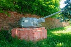 T-34-76坦克的大炮 Baltiysk 俄国 免版税库存照片