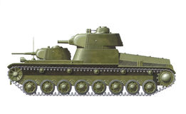 T-100 prototype. Hand drawn illustration of ww2 russian heavy tank prototype Royalty Free Stock Images