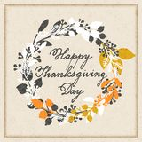 Vector holiday cards template wit handwriting happy thanksgiving day and leaf wreath. design for gift cards, backgrounds, p stock illustration