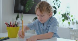 坐在厨房里的一件蓝色T恤杉的一个男孩在桌上画做家庭作业学龄前训练的铅笔 股票录像