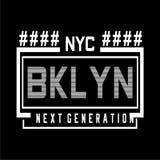 纽约布鲁克林印刷术T恤杉的设计发球区域 向量例证