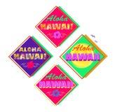设置与喂夏威夷字法、棕榈叶、木槿和太阳的霓虹五颜六色的夏季的印刷品T恤杉的,标签,标记 免版税库存图片