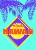 与喂夏威夷橙色字法、椰子蓝色棕榈叶和黄色太阳的T恤杉薄荷的颜色霓虹印刷品 库存照片