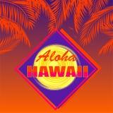 有喂夏威夷字法的,椰子橙色棕榈叶,在黑暗的日落背景的太阳T恤杉 库存图片