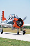 T-28 Trojan Pilot Jason Newburg Waves to the Crowd Royalty Free Stock Photos