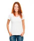 白色T恤杉的女孩 库存照片