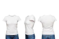 在空白的白色T恤杉的时装模特 图库摄影