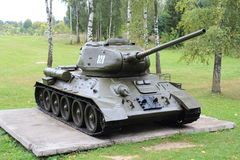 T-34. Tank on a pedestal in a forest Royalty Free Stock Photo
