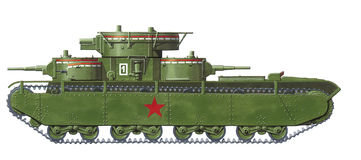 T-35 very heavy tank. T-35 russian world war 2 very heavy tank stock illustration
