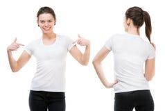 一件白色T恤杉的女孩 库存照片