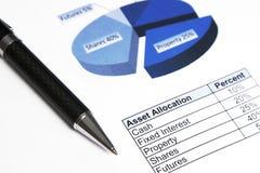 分配资产企业重点投资笔t 免版税库存图片