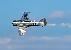 T 6 war bird stunt plane at Seafair. T6 stunt plane at an air show for Seafair in Seattle wa stock photography