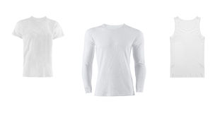 在白色背景的各种各样的T恤杉 免版税库存照片