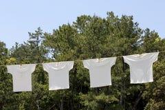 垂悬在晒衣绳的白色T恤杉 免版税库存照片