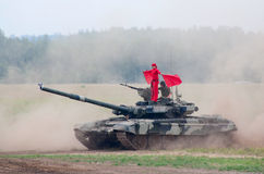 T-80 tank with a flag carrier Stock Images