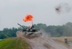 T-80 tank going through the fire Royalty Free Stock Image