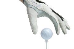 T acima da luva e da esfera de golfe Fotos de Stock