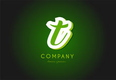 T alphabet letter logo green 3d company vector icon design Royalty Free Stock Image
