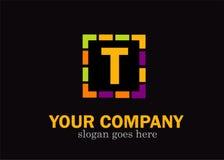 T alphabet letter mosaic vector design. T alphabet letter mosaic colorful vector design isolated on black Royalty Free Stock Photo