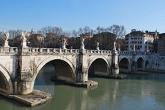 ` T Angelo Bridge de Roman Italy San Photos stock