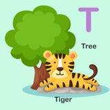 T-arbre animal de lettre d'alphabet d'illustration, tigre Photos libres de droits