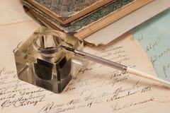 tła atramentu stary papierowy pióra rocznik Fotografia Royalty Free