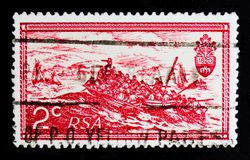 T Baines: Os colonos britânicos que aterram em Algoa latem, 10o aniversário do serie da república, cerca de 1971 Imagens de Stock Royalty Free