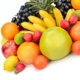 tła bananów owoc odizolowywali kiwi bonkrety tangerine biel Zdjęcie Stock