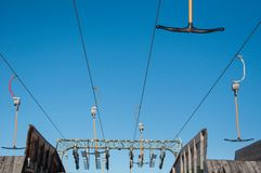 T-bar ski lift detail Royalty Free Stock Photo