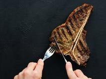 T-benbiff grillade saftig fläskkotlett för mexikanskt kött royaltyfri foto