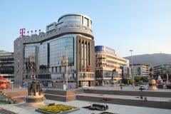 T bewegliches errichtendes Skopje lizenzfreies stockbild