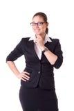 tła bizneswomanu odosobniony biel Fotografia Stock