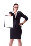 tła bizneswomanu odosobniony biel zdjęcia stock