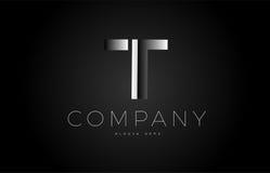 T black white silver letter logo design icon alphabet 3d Royalty Free Stock Images