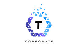 T Blue Hexagon Letter Logo with Triangles. T Blue Hexagon Letter Logo Design with Blue Mosaic Triangles Pattern royalty free illustration
